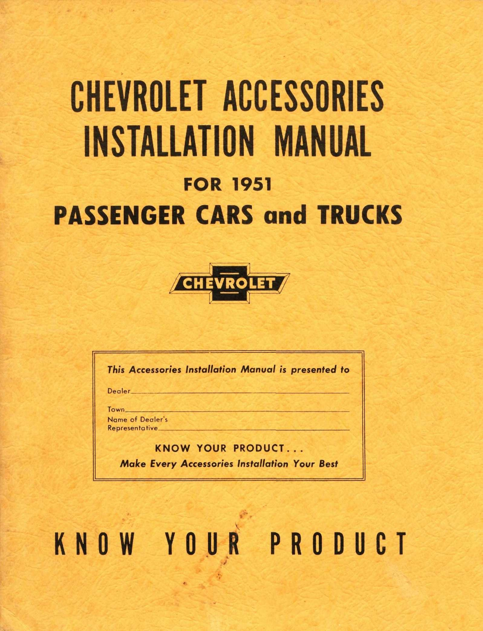 1951 Chevy Accessory Installation Manual Chevrolet Accessories