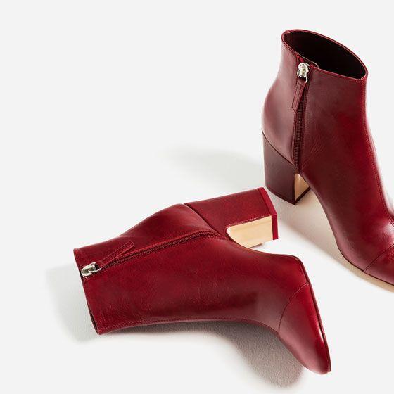 comment acheter chaussures d'automne site officiel Image 3 de BOTTINES À TALON EN CUIR ET BOUT RAPPORTÉ de Zara ...