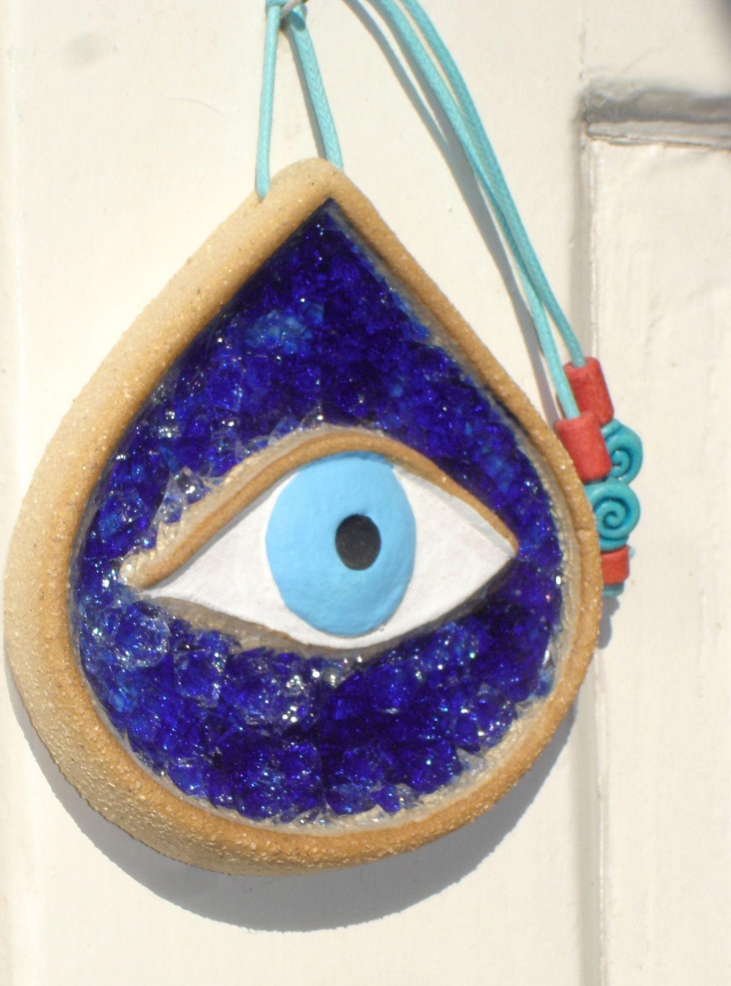 Porte bonheur grec turc en forme d 39 oeil bleu fonc c ramique bleue mat o devoirs pinterest - Yeux bleu fonce ...