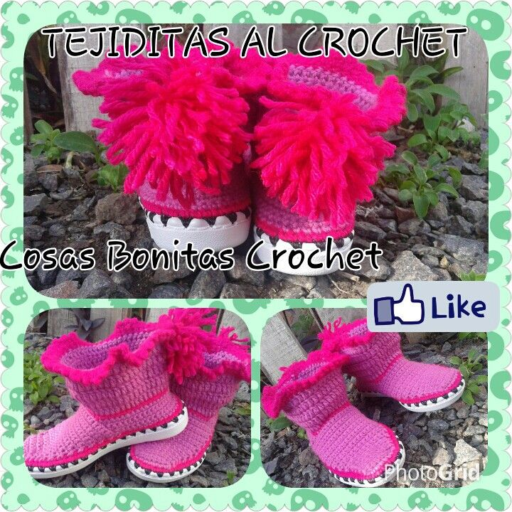 Botitas tejidas al crochet #Tejiditas | Crochet Zapatos Tejidos ...