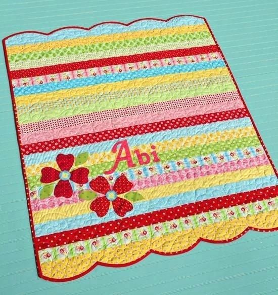 Cute Simple Jelly Roll Quilt With Name Cute Baby Quilts To Make ... : cute baby quilts to make - Adamdwight.com