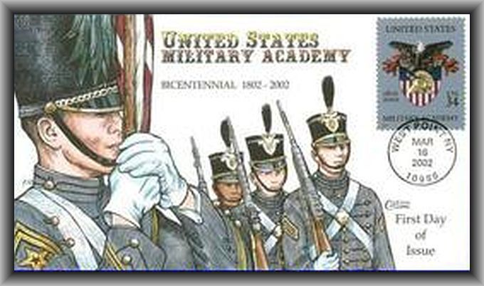 First Day Cover for Scott #3560 34-Cent U.S. Military Academy Bicentennial US Postage Stamp  issued on March 16, 2002.