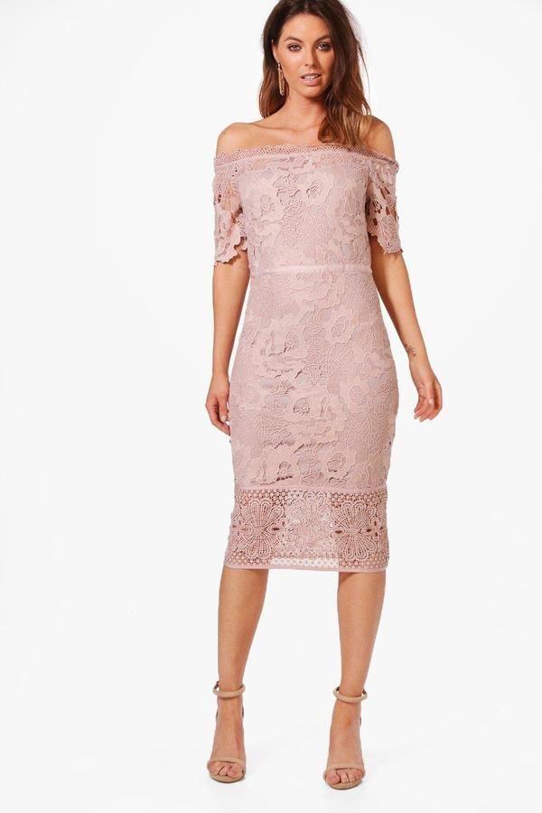 boohoo Boutique Nikka Off Shoulder Lace Midi Dress | Pinterest