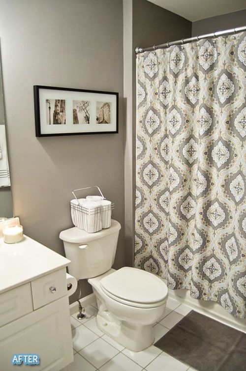 I like the gray walls in the bathroom.