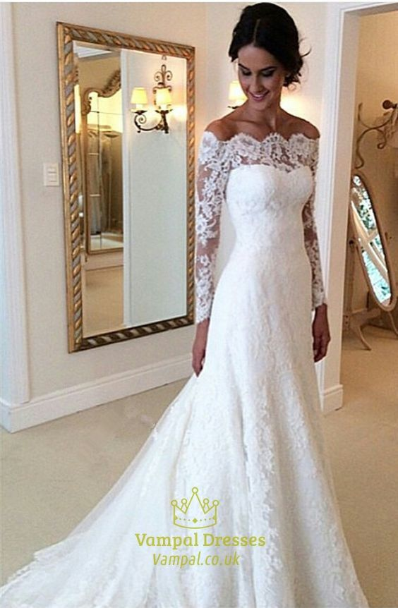 White Lace Off The Shoulder Sheer Long Sleeve Wedding Dress With Train Long Sleeve Bridal Gown Bridal Gown Cheaper Wedding Dress Long Sleeve