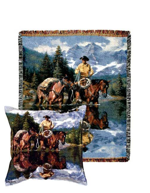 Reflections of the Rockies Tapestry Pillow and Throw Set - Buy at Snugglebug Pillows and Throws www.snugglebugpillowsandthrows.com