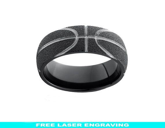 Basketball Ring Black Zirconium Wedding Band 8mm Mens Womens Wedding