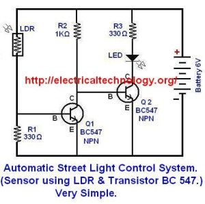 automatic street light control system using ldr \u0026 transistor bc 547automatic street light control system (sensor using ldr \u0026 transistor bc 547 ) very simple electrical technology
