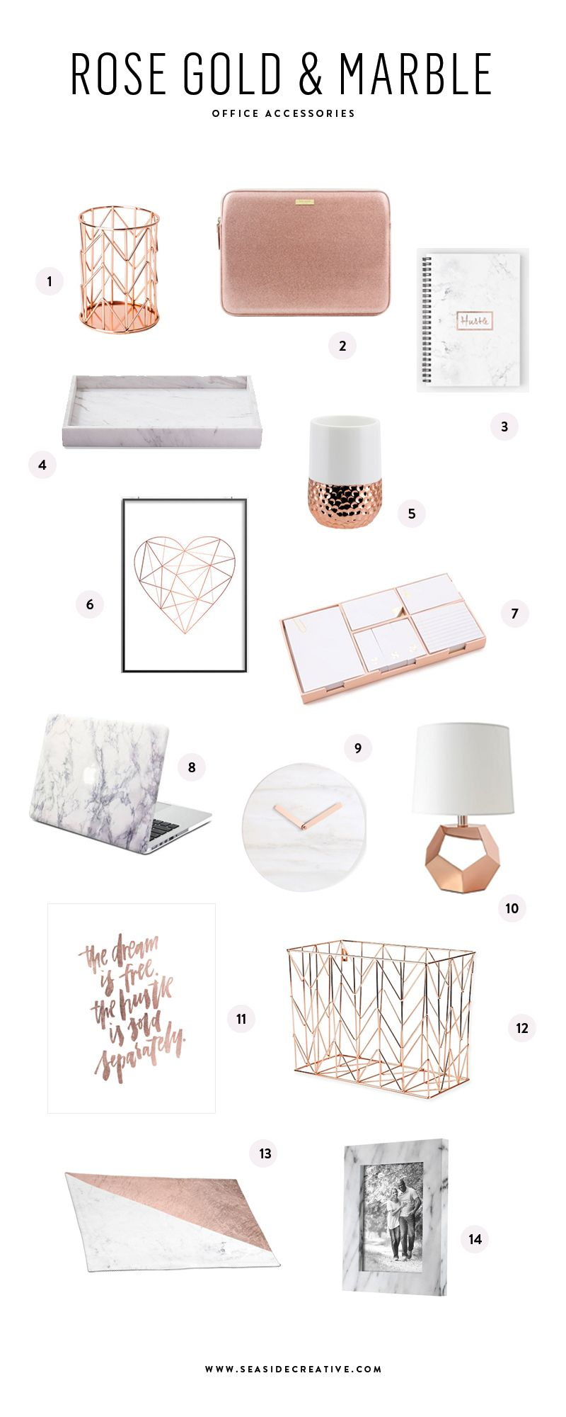 Beautiful rose gold u marble office accessories pencil cup gold