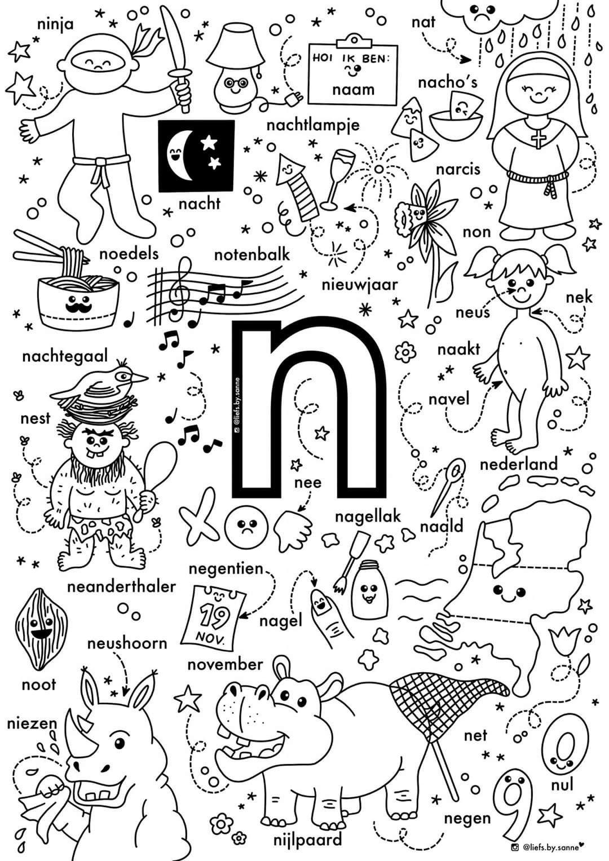 N Woorden Kleurplaat Letterherkenning Spelletjes Kleuterschool Taal Alfabet Boek