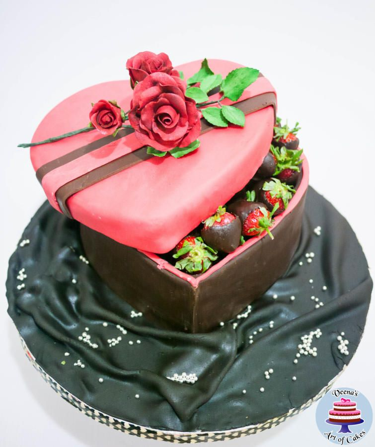 Heart gift box cake with chocolate coated strawberries cake by heart gift box cake with chocolate coated strawberries cake by veenas art of cakes negle Images
