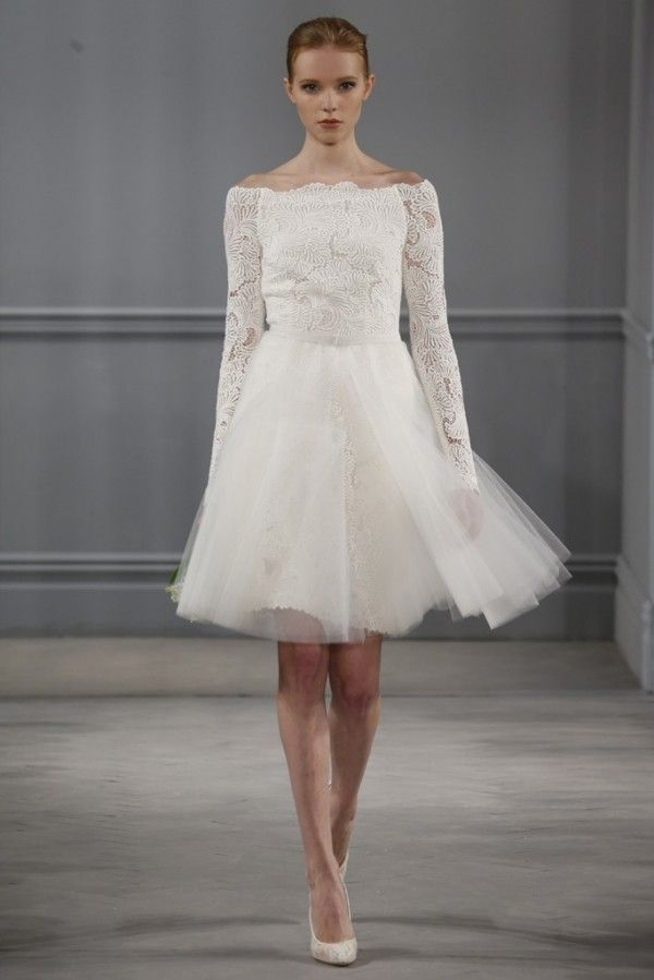 Monique Lhuillier Spring 2014 Short Bridal Dress with Long Sleeves ...
