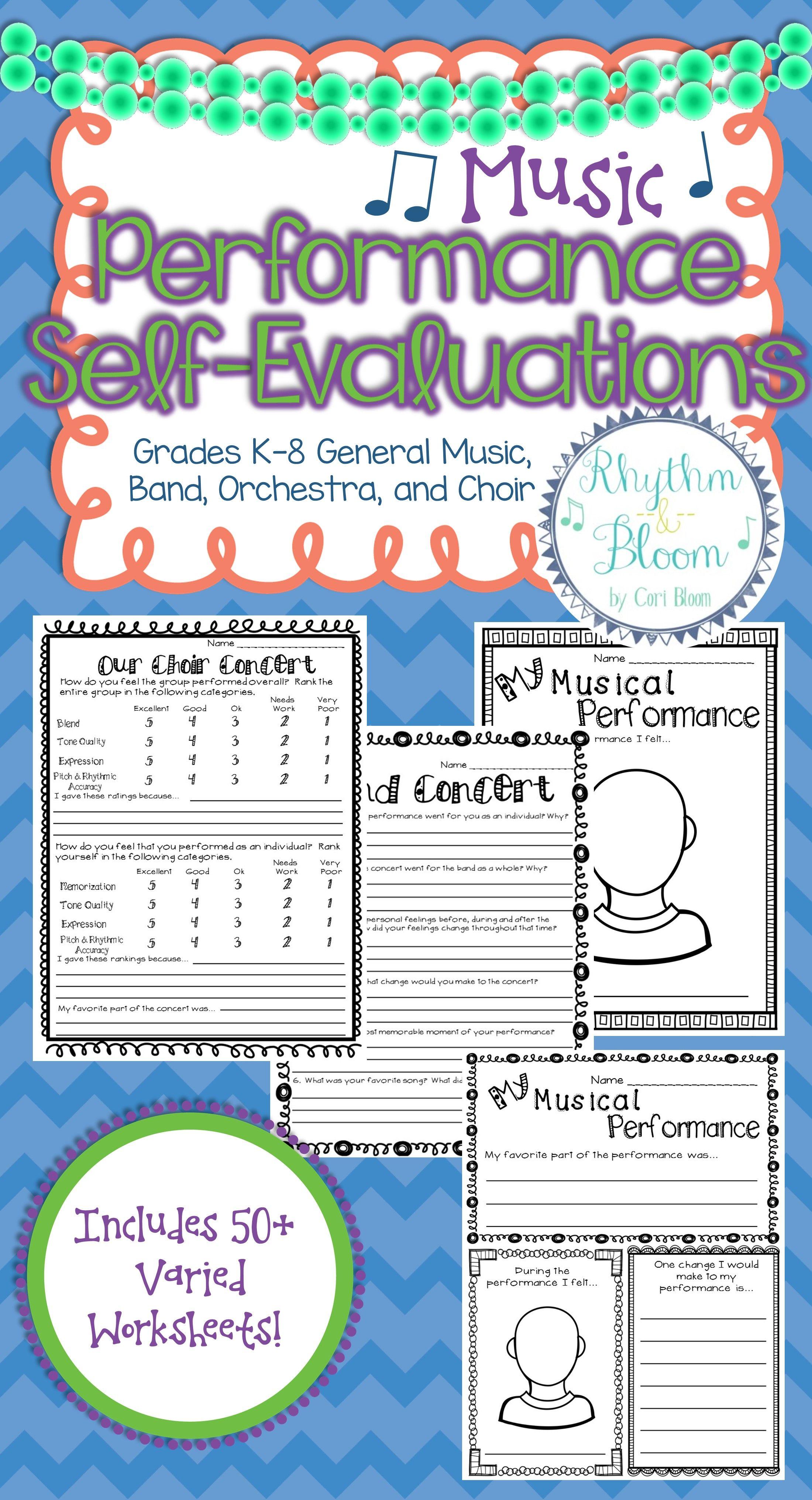 worksheet Band Worksheets performance self evaluation worksheets bundle choir orchestra music bundled set includes over 50 for general music