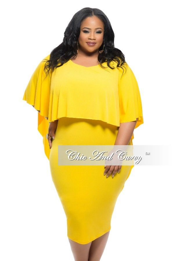Plus Size BodyCon Dress with Attached Draping Cape in Yellow ...