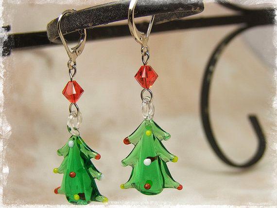 Festive Jewellery Green Enamel Charms Christmas Tree Earrings