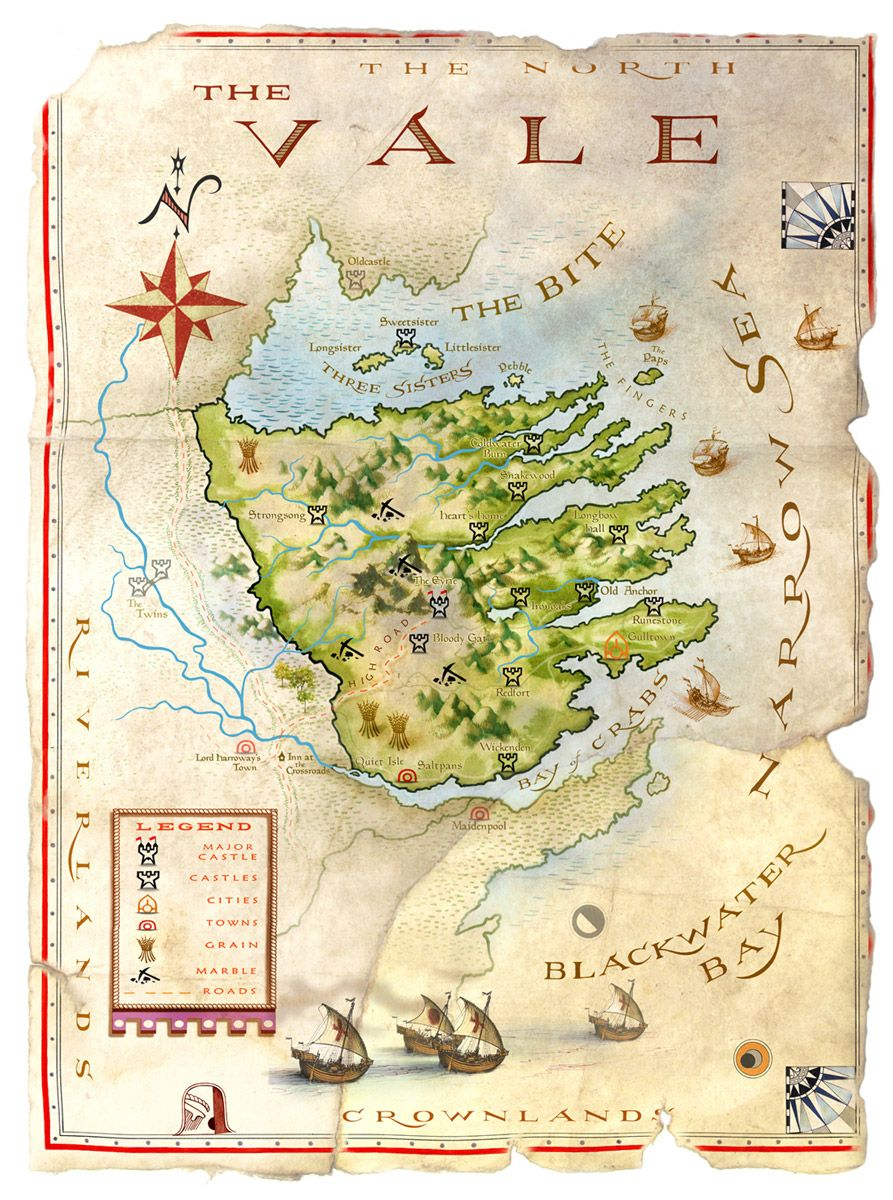 the world of ice and fire the vale map by michael gellatly