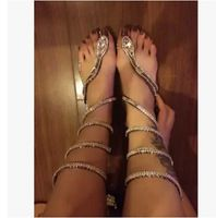 7213ec2f80a770 Crystal Around Women Gladiator Sandal Boots 2015 New Arrive Snake Flat  Women Summer Shoes X103