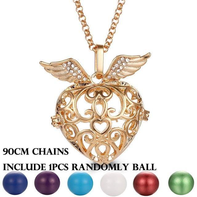 Mexiko Glockenspiel Musik Engel Ball Anrufer Medaillon Halskette Vintage Schwangerschaft Halskette Aromatherapie ätherisches Öl Diffusor Zubehör   – Products