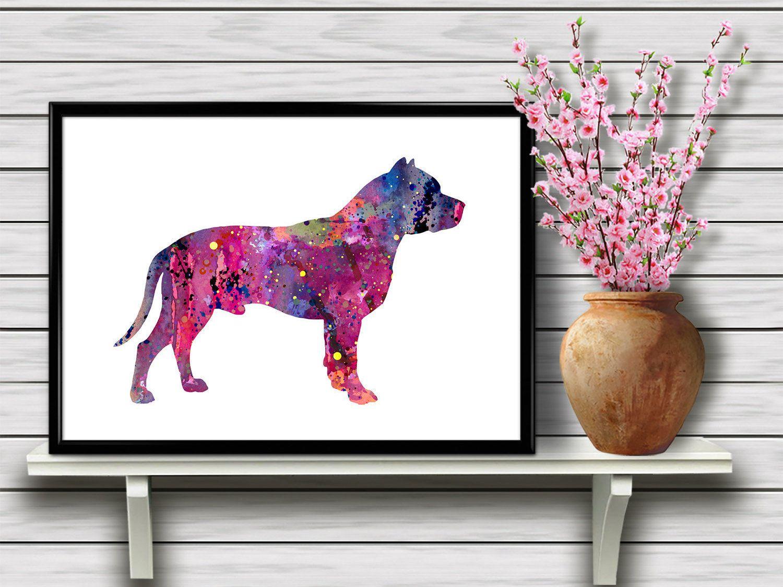Colorful Pitbull Dog Breed Animal Pet Watercolor Kids