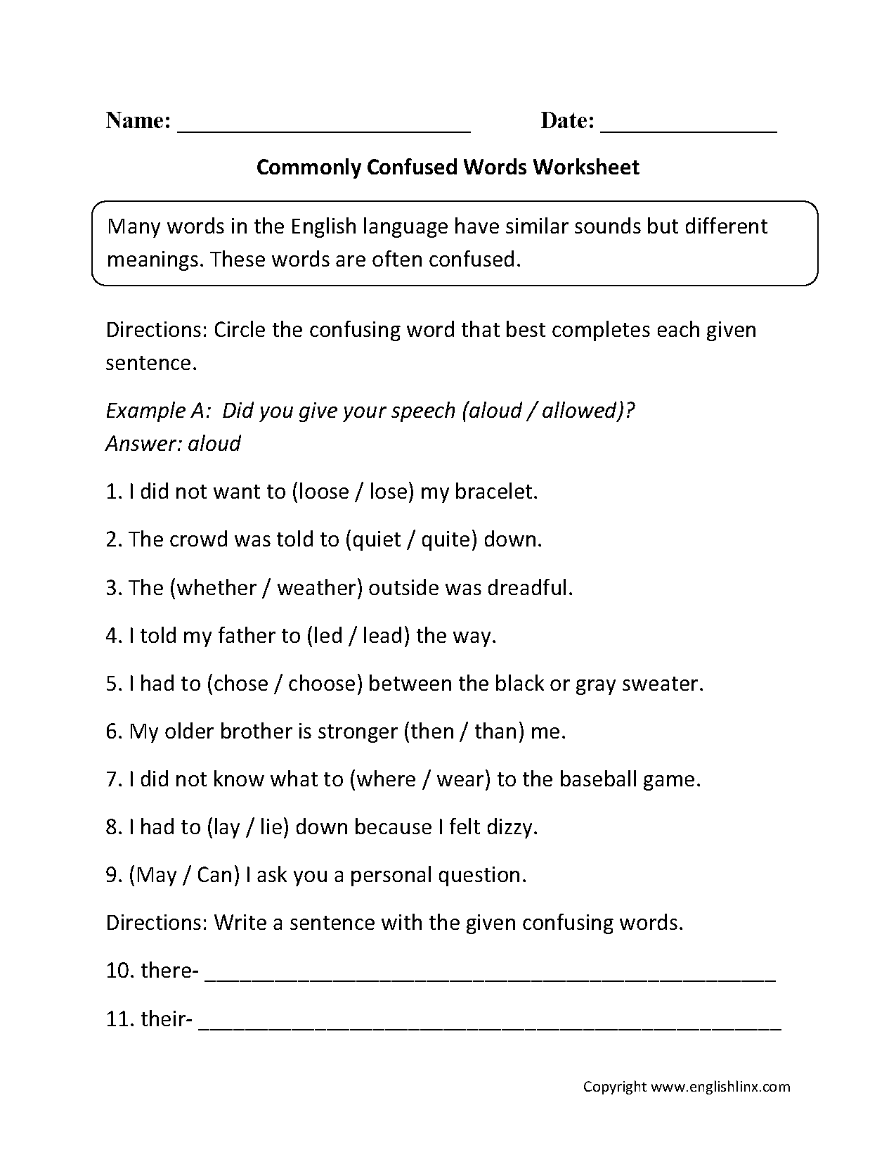 Commonly Confused Words Worksheets