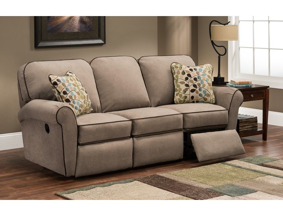 Slumberland La Z Boy Jenna Collection Taupe Reclining Sofa