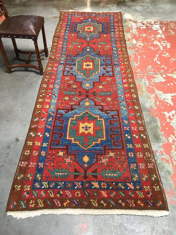 Antique Persian Heriz Runner Rug 3 3x10 6 Kitchen Hall