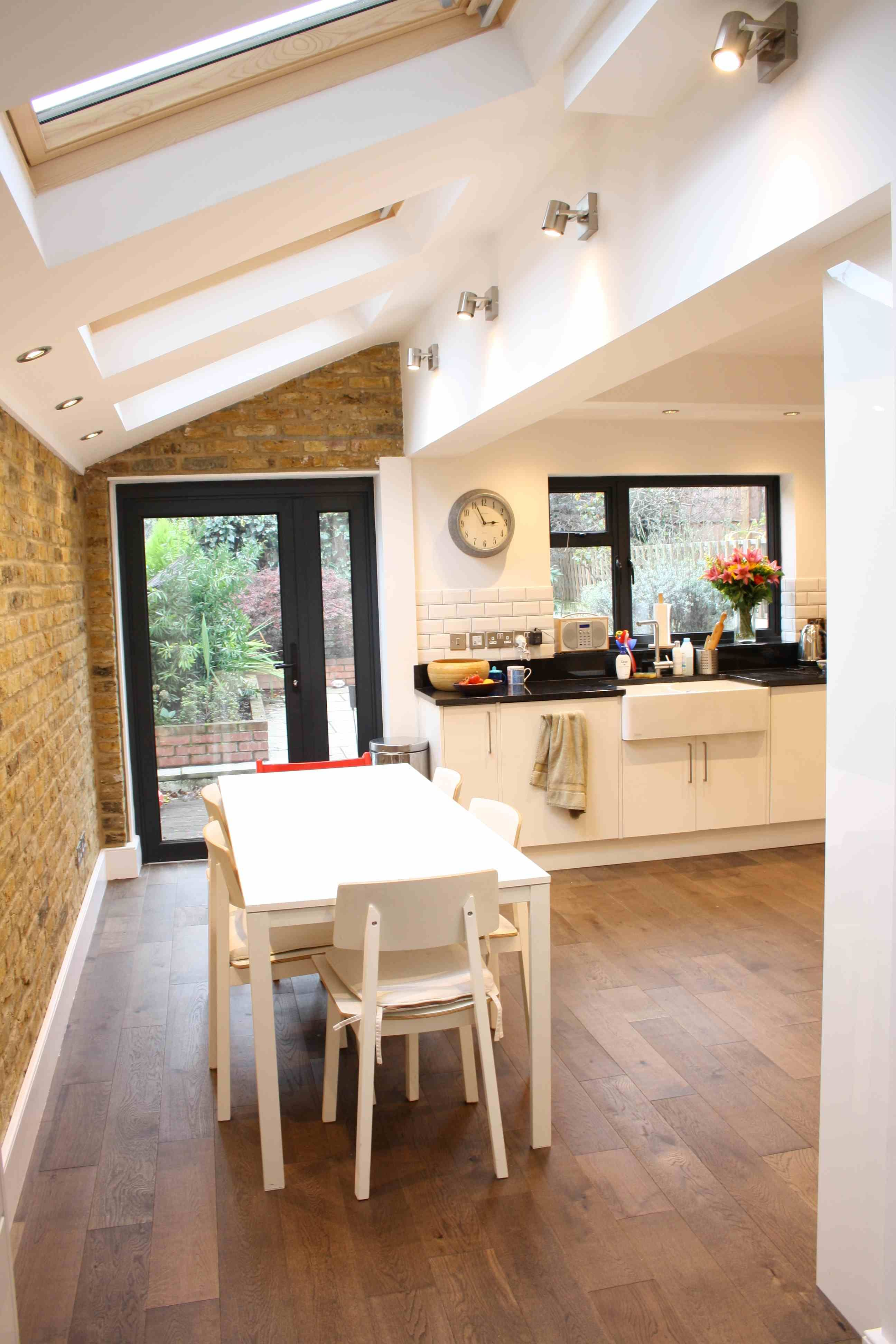 Side return kitchen extension with exposed brick work built by simply extend londons kitchen extension specialist