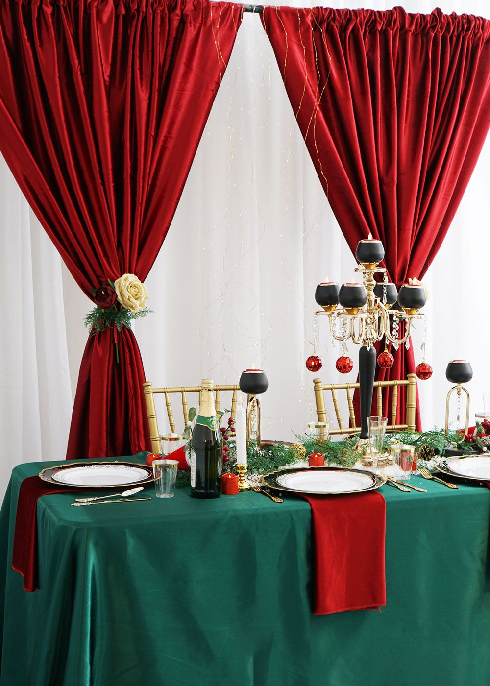 Red Lace Round Rectangle Christmas Table Cloth Table Cover Wedding Room Decor US