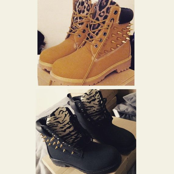 Leopard Print Spiked Combat Boots WomenBig by CustomisedBoots