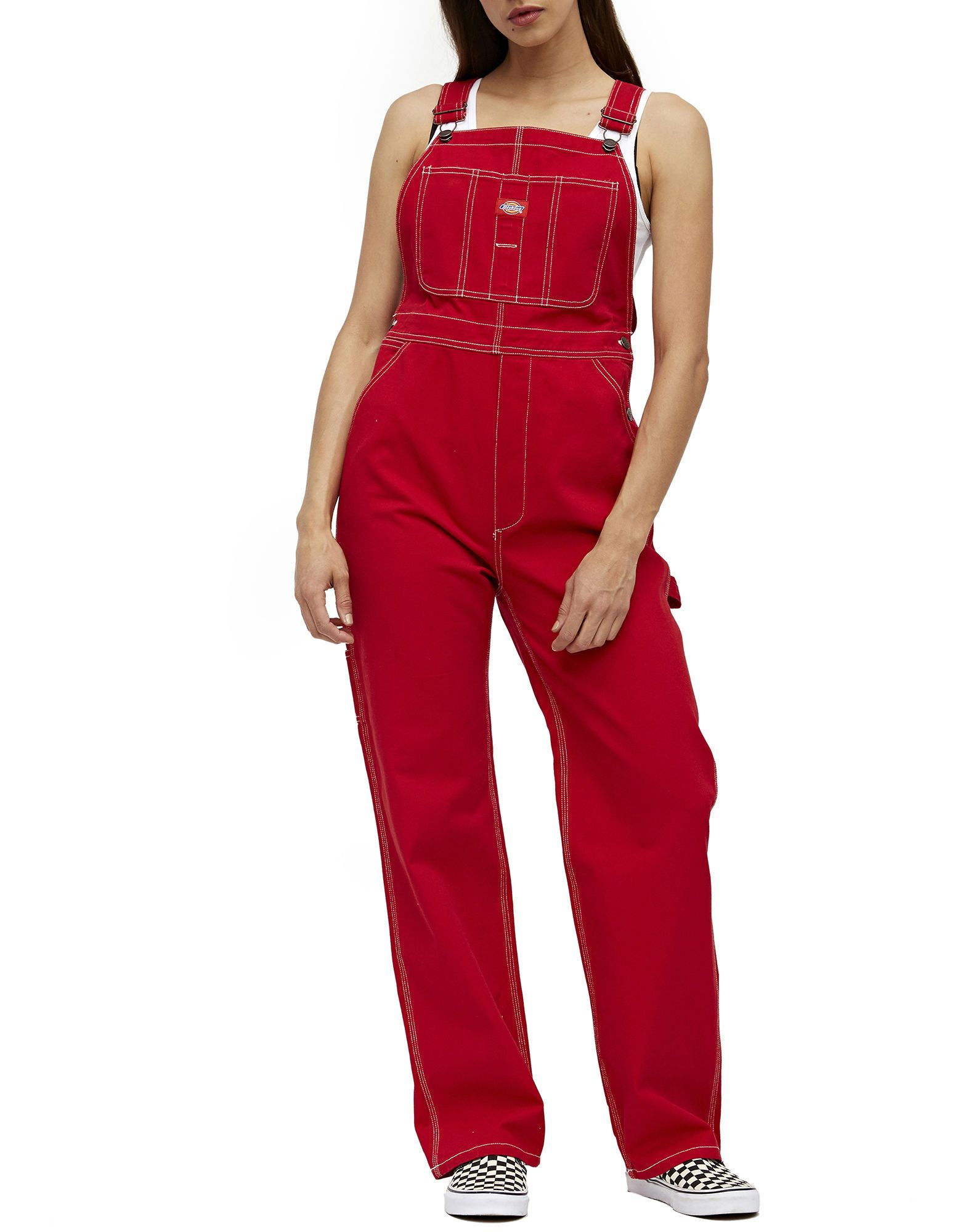 eb427e64 Red Dickies Girl Juniors' Relaxed Twill Overalls | Dickies Girl | Dickies