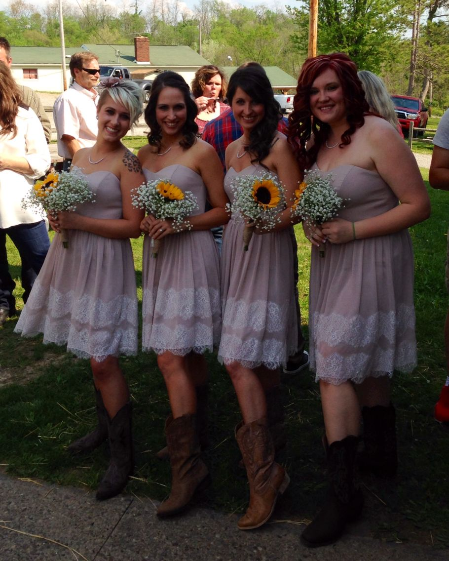 Best Rustic Barn Country Wedding Bridesmaid Dresses Cowboy Boots Lace And Burlap Baby Us