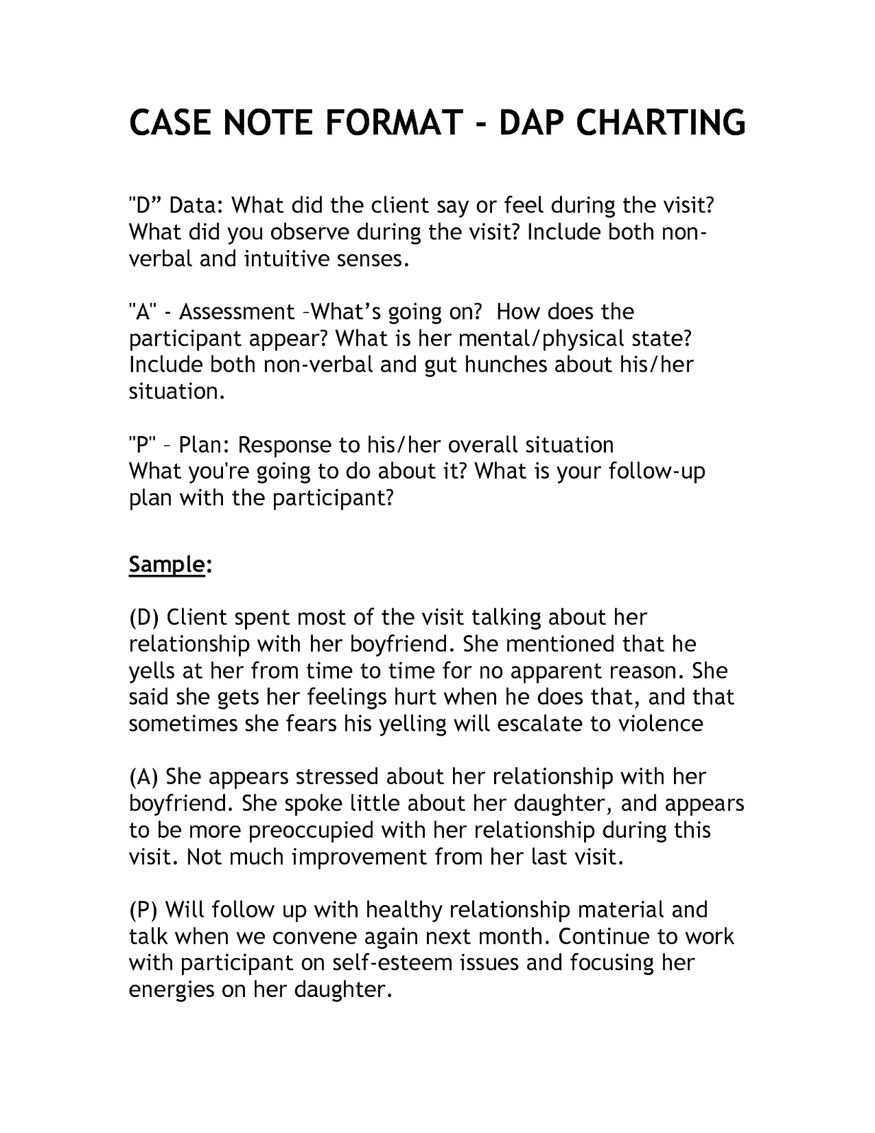 Dap Psychotherapy Note Templates