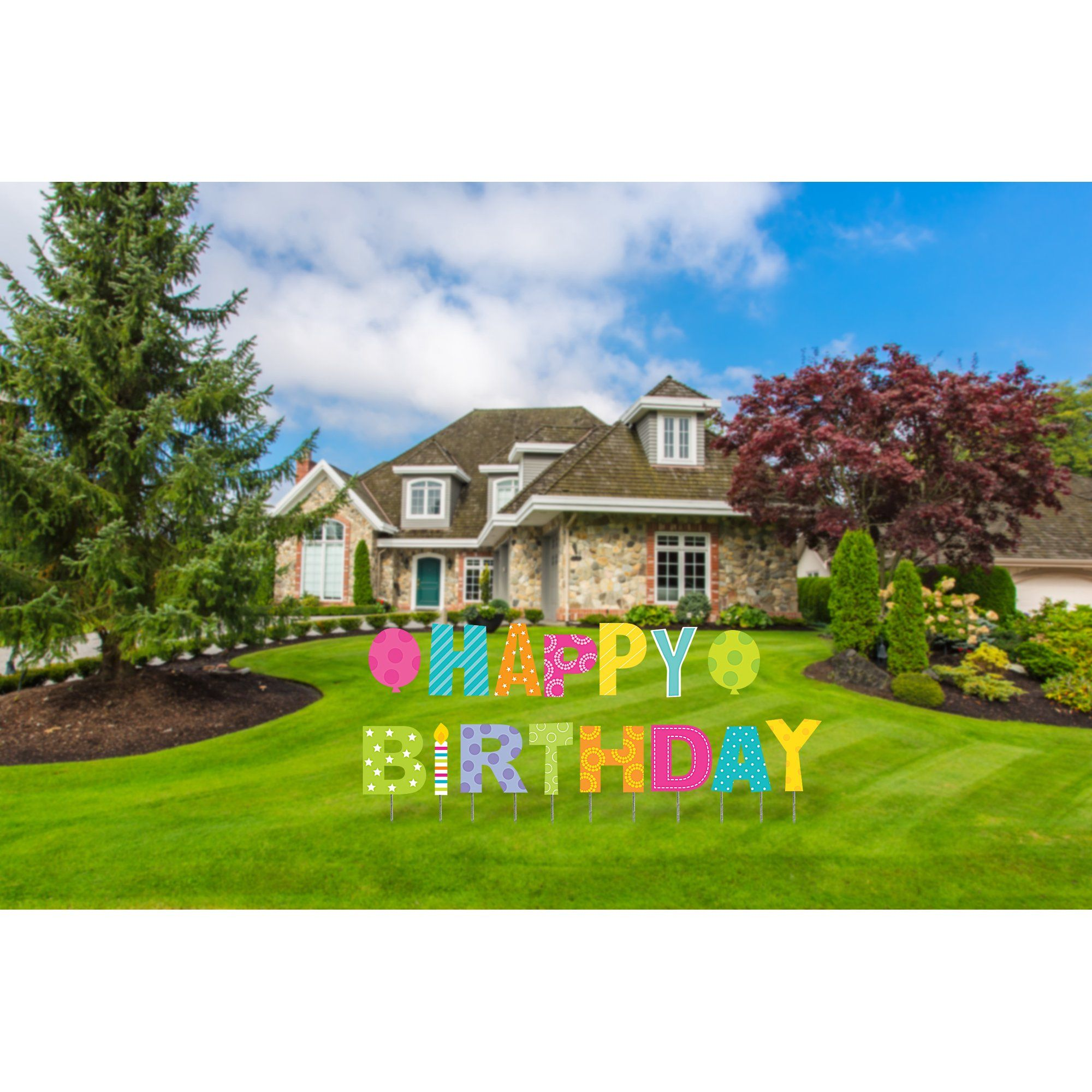 Happy Birthday Yard Sign, 15 pcs, Stakes Included, Outdoor