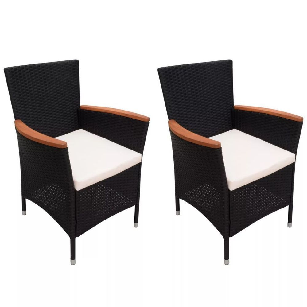 pieces garden rattan chairs black color steel frame cushioned