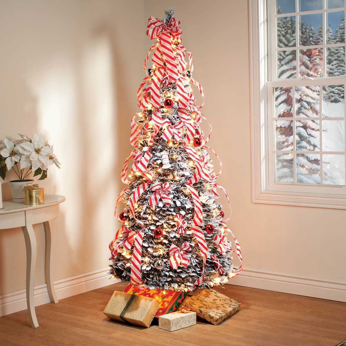 6 Ft Candy Cane Frosted Pull Up Tree Pre Lit Christmas Tree Garland Decor Christmas Home