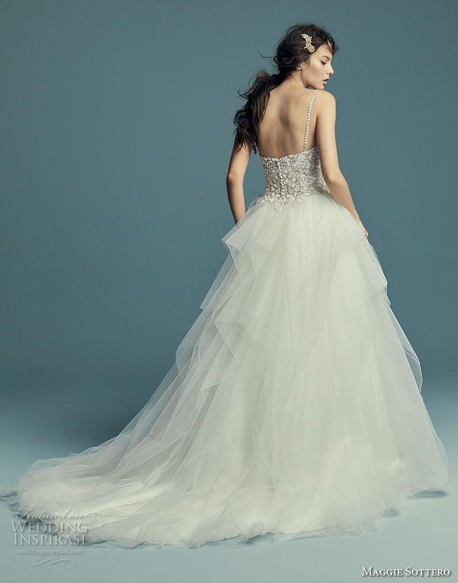 86fc616e7e maggie sottero fall 2018 bridal sleeveless spaghetti strap sweetheart  neckline heavily embellished bodice tulle skirt romantic ball gown a line  wedding ...