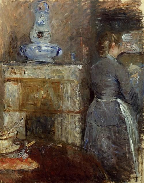 Berthe Morisot (b. 14 January 1841): The Dining Room of the Rouart Family, Avenue d'Eylau (oil on canvas), 1880.  Private collection.