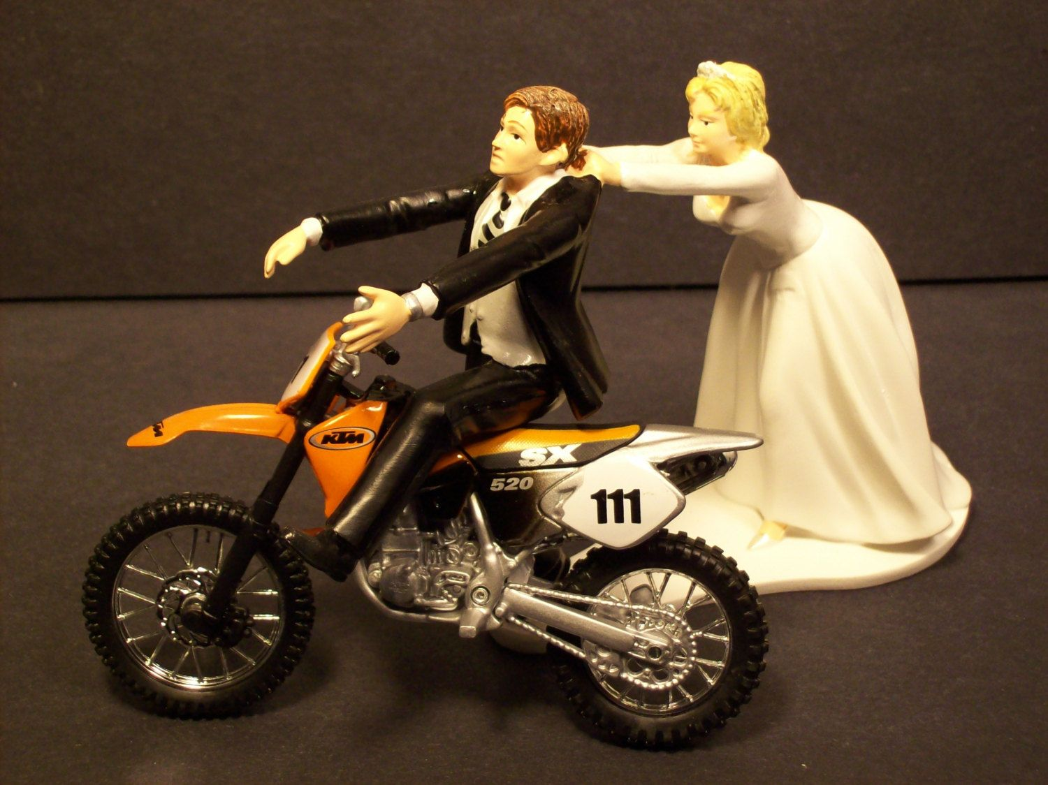 medium resolution of come back motorcycle ktm orange 520 sx dirt bike bride and groom funny bike wedding cake topper 67 99 via etsy