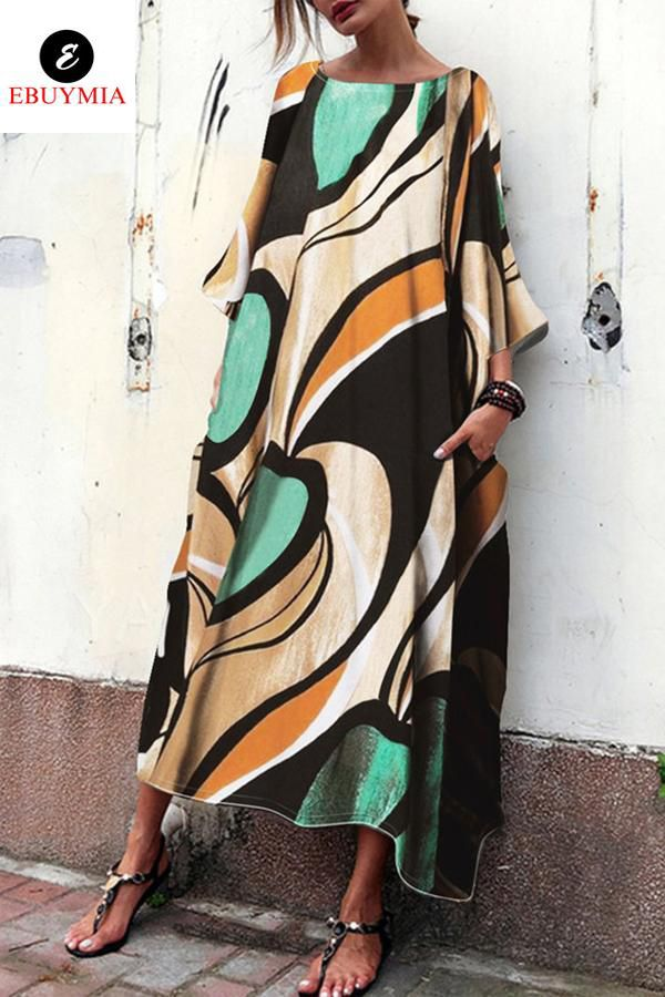 Baggy And Fashionable Print Maxi Dress is part of Printed maxi dress - vacation Product  no  WXL20180921 PleaseNote Alldimensionsaremeasuredmanually withadeviationof1to3cm  Size Bust Hips Waist S 8690 8894 7072 M 9094 9298 7476