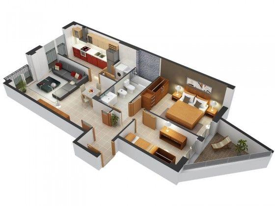 Planos De Departamentos Dos Dormitorios Дом интерьер