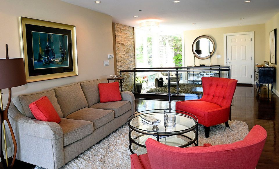 Living Room With Grey Couch And Red Chairs With Red Accents Living Room Decor Grey Couch Living Room Red Living Room White
