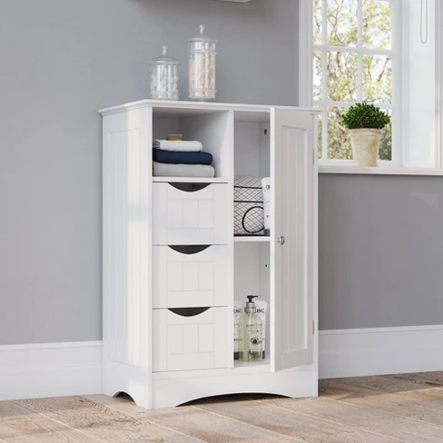 Free Standing Beadboard Cabinet With Drawers White With Images