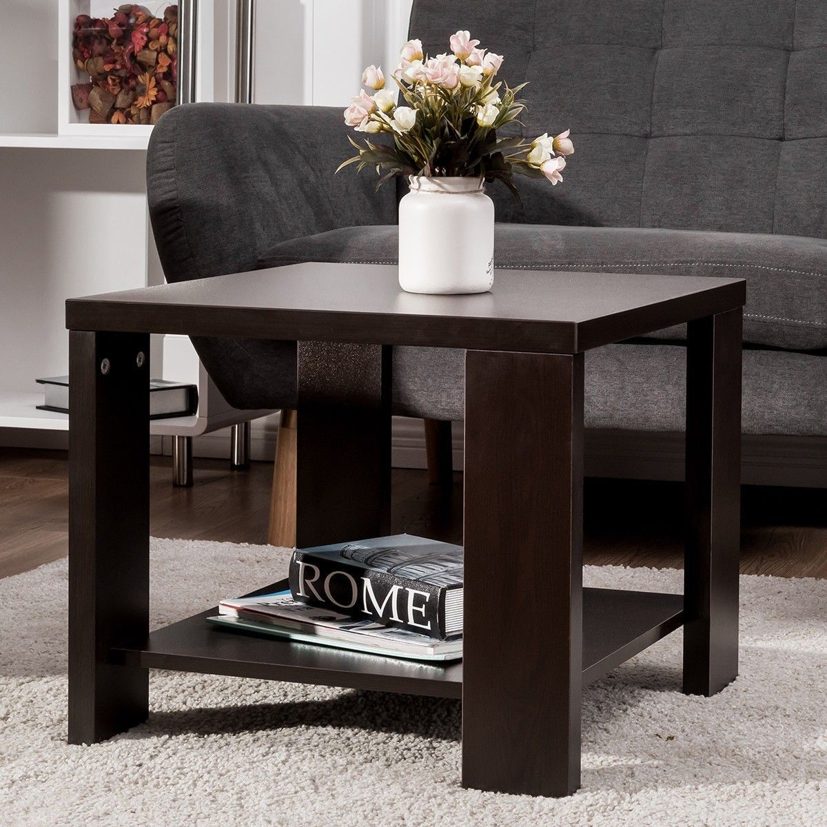 Square Sofa Side Coffee Tea Table With Storage Shelf Living Room Side Table Living Room Table Living Room Furniture [ 1200 x 1200 Pixel ]