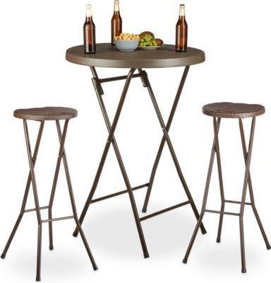 Barhocker Klappbar relaxdays 3 tlg stehtisch set bastian bartisch rund klapptisch