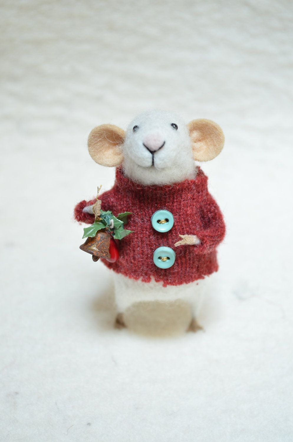 I Am Inexplicably In Total Love Christmas Mouse Unique Needle Felted Ornament Animal Felting Felt Ornaments Christmas Mouse Needle Felted Ornaments