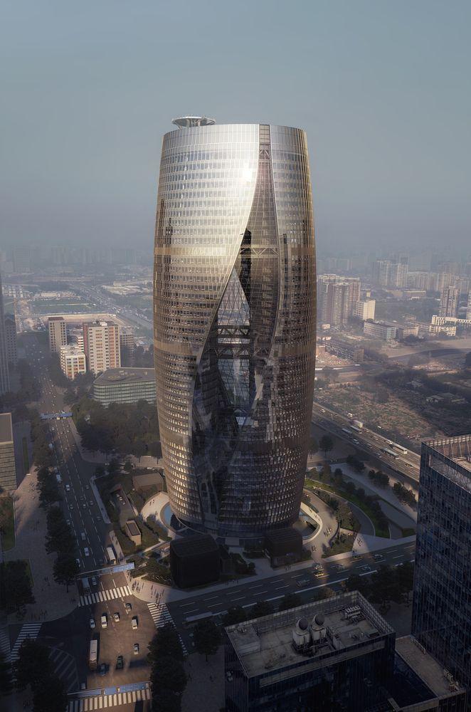 Galera de Zaha Hadid Architects presenta rascacielos con el atrio