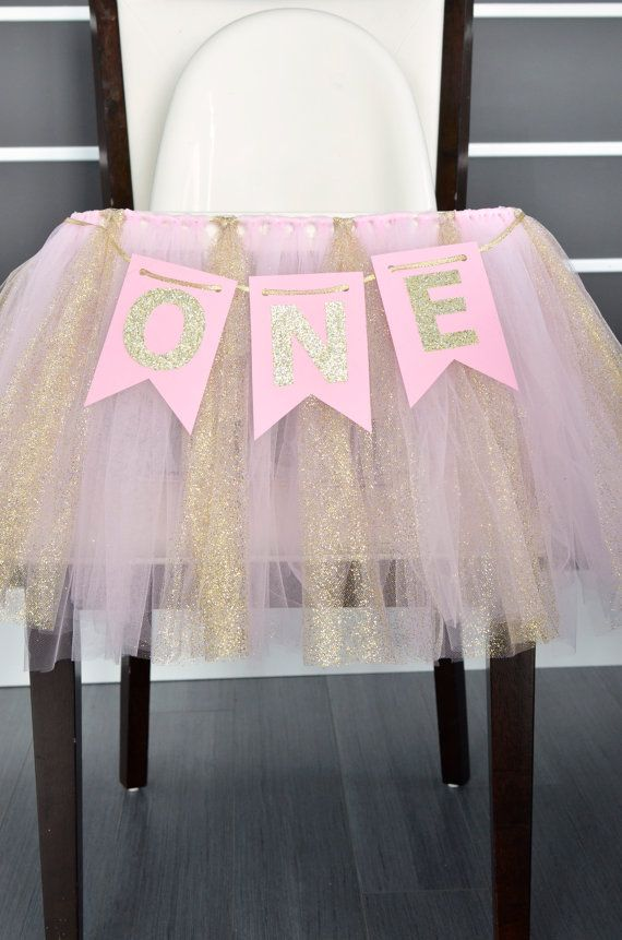 ONE Pink And Gold Year Banner High Chair Birthday Photo Prop First