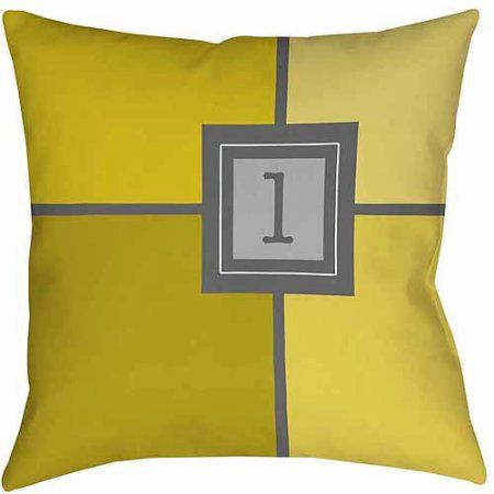 Thumbprintz Grid Monogram Yellow Decorative Pillows Products Impressive Yellow Decorative Bed Pillows