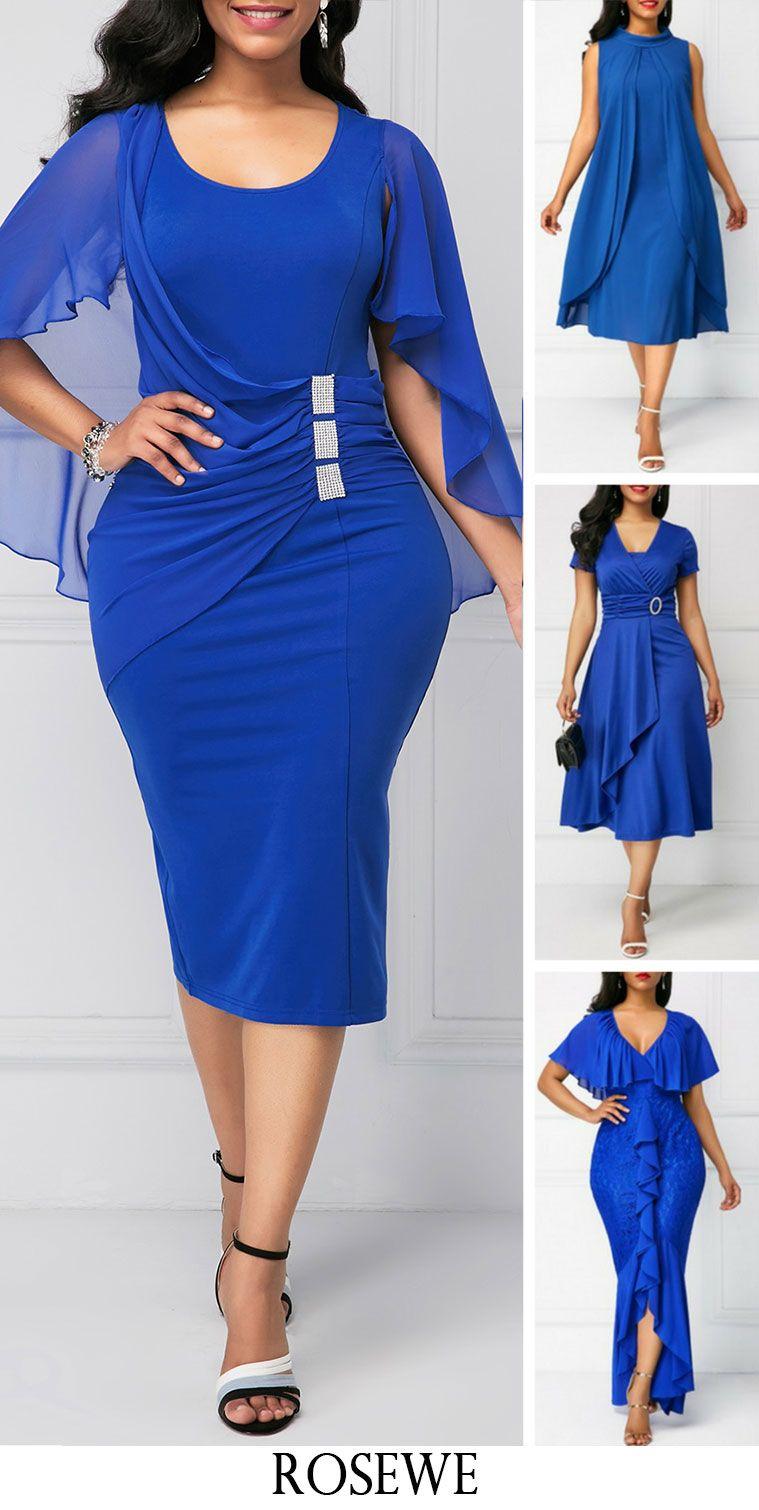 cd5a8504e12 Royal Blue Back Slit Cape Shoulder Sheath Dress. Rosewe blue dress ...