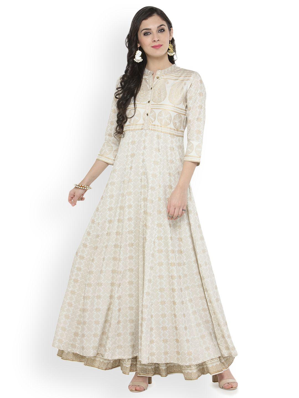Off White Gold Print Kurta Cotton Anarkali Fashion Clothes Women Online Womens Clothing